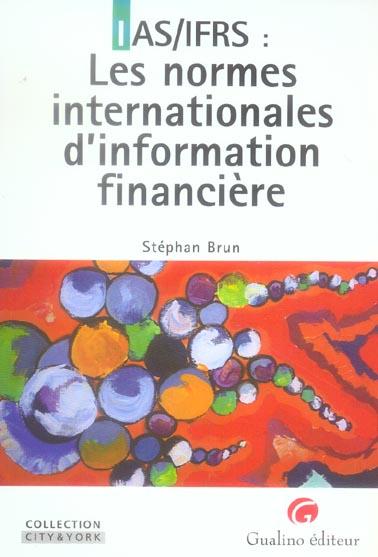 IAS/IFRS : LES NORMES INTERNATIONALES D'INFORMATION FINANCIERE