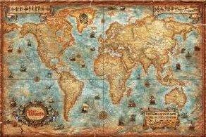 **WORLD EXECUTIVE MAP PLASTIFIE 136CM X 92CM