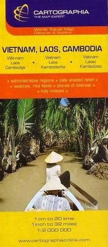 VIETNAM LAOS CAMBODGE (CARTE CARTOG)